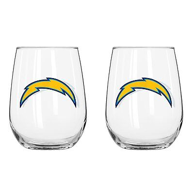 San Diego Chargers Rocks - San Diego Chargers 16 oz.Curved Beverage Stemless Wine Rocks Glass 2 pack set