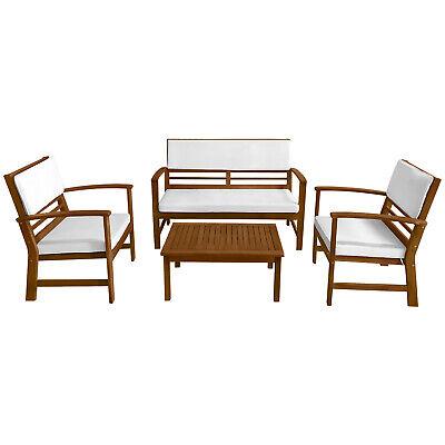 Patio Sofa Set Outdoor Chat Set Patio Conversation Set 4-Piece Acacia Wood Home & Garden