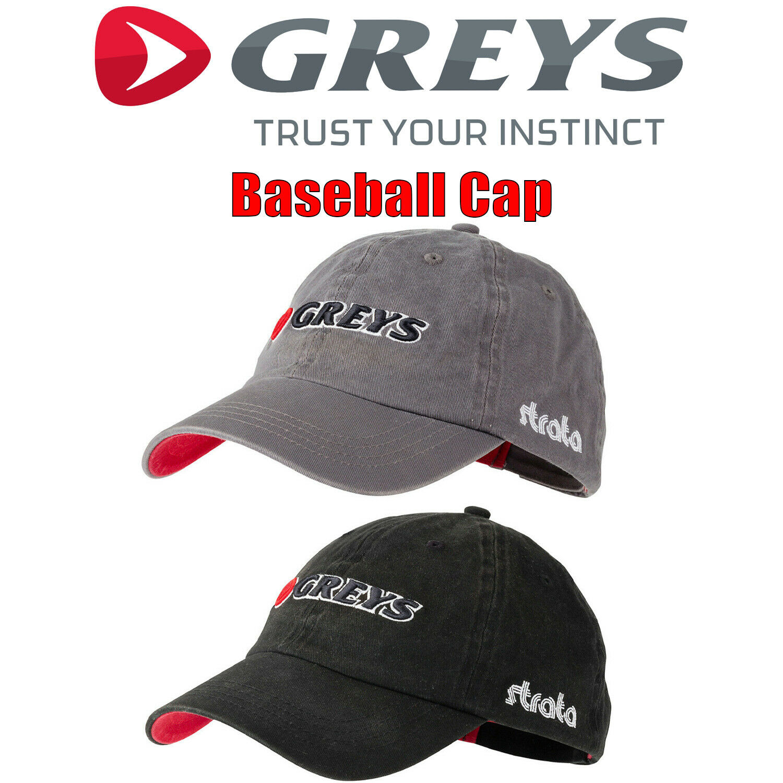 Greys Logo Baseball Cap Kappe Grau o. Schwarz Schirm Mütze Angeln 100% Baumwolle
