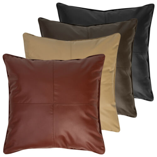 Carson Faux Leather Decorative Throw Pillow Pair 18″x18″ Home & Garden
