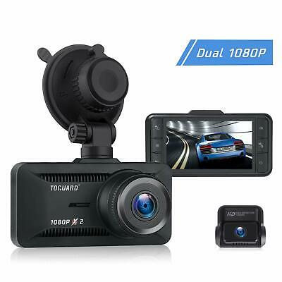 TOGUARD Both 1080P Dash Cam Front and Rear Dual Lens in Car Camera 3 Inch IPS