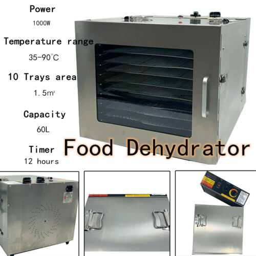 10 Tray Food Dehydrator Fruit Jerky Dryer Blower Commercial