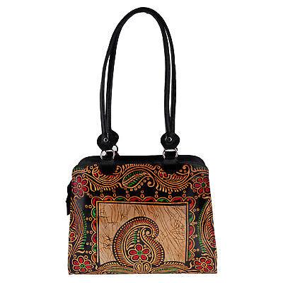 Real Leather Batik Paisley Indian Shantiniketan Shoulder Bag Handmade Painted