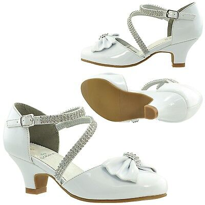Kids Girls Dress Shoes Low Heels Bow Accent Rhinestone Strap White Sz 10-5 - White Childrens Dress Shoes