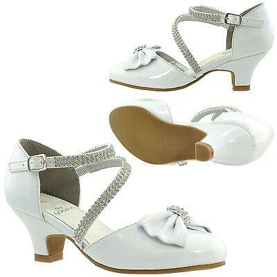 Kids Girls Dress Shoes Low Heels Bow Accent Rhinestone Strap White Sz 10-5