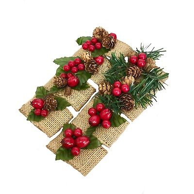 8pc set-Christmas Winter Diner Event Napkin ring holder pine cone berry - Napkin Ring Holders