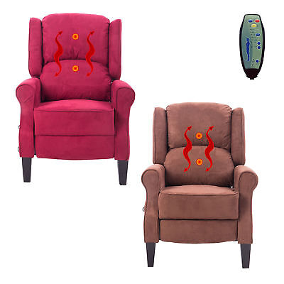 Deluxe Massage Recliner Chair Heated Sofa Ergonomic Lounge Suede w/ Control New