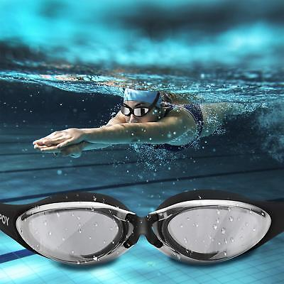 5aae301a114 Swimming Goggles Anti Fog Crystal Clear Vision UV Protection No Leaking  Black A