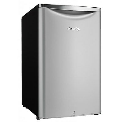 Danby 4.4 Cubic Feet Compact Sized Mini Beverage Refrigerator with Lock, Silver