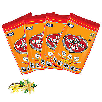 4 VANILLA POUCHES 96 Creamy Tabs Emergency Food/Survival Product Ameros Cyclone