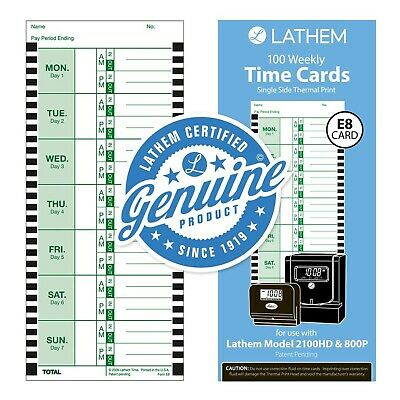Lathem Weekly Thermal Print Time Cards Single Sided For Lathem 800p Time Cl...