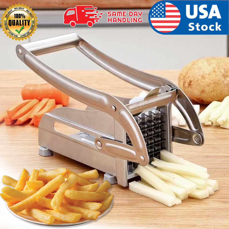 Stainless Steel French Fry Cutter Vegetable Potato Chopper Slicer Dicer 2 Blades Home & Garden