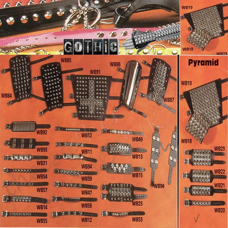 LEATHER WRISTBAND STUDS spike punk rock metal biker goth bracelet plain chain