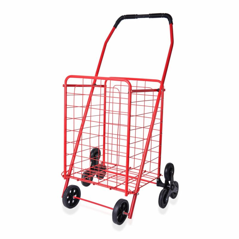 Red Collapsible Iron Cart with Climbing Wheels Comfort Grip Handle Gifts