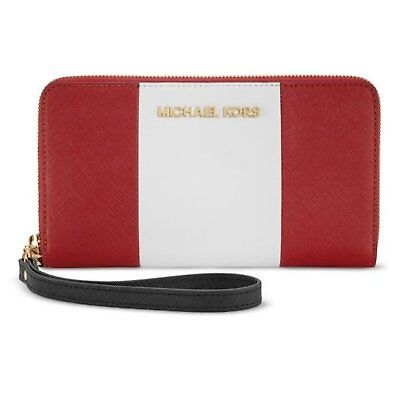 Michael Kors iPhone Plus Large Zip Wristlet Clutch Wallet Red White Leather