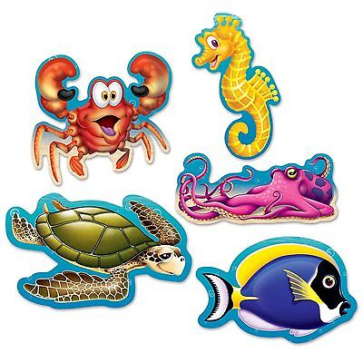 10 UNDER THE SEA Ocean Beistle Party Decorations Mini SEA CREATURE CUTOUTS 5