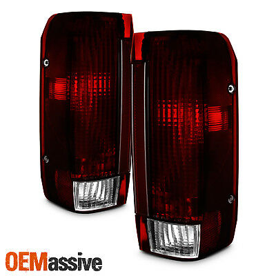 Fit 91-96 Ford Bronco F150 F250 Pickup Truck Dark Red Tail Lights Replacement - Ford F250 Pickup Tail Light