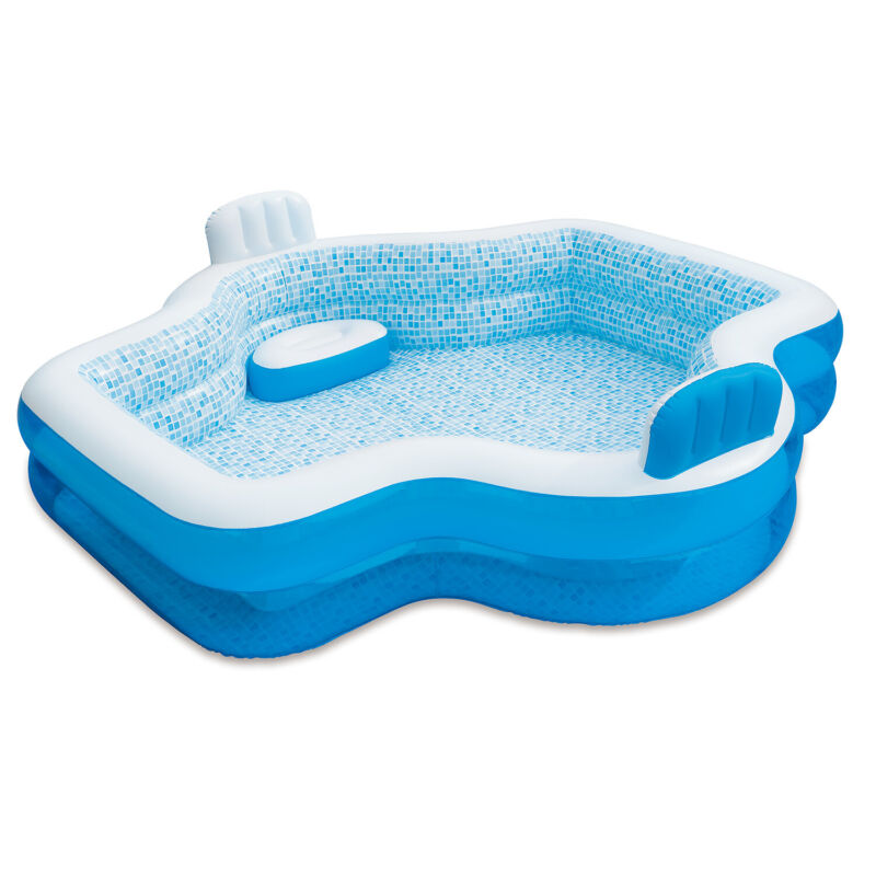 Summer Waves Inflatable Family Pool with 2 Built In Cushioned Seats (Open Box)