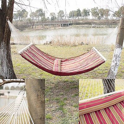 2 Person Outdoor Hammock Cotton Double Size Sleeping Bed Camping Swing w/ Pillow