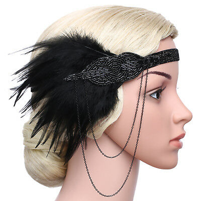 1920S Headband Feather Vintage Bridal 20S Gatsby Flapper Headpiece Gangster