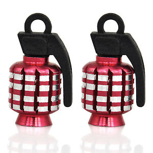 TRIXES-Red-Pair-of-Hand-Grenade-Alloy-Valve-Dust-Caps-Motor-Bike-MTB-BMX-Car