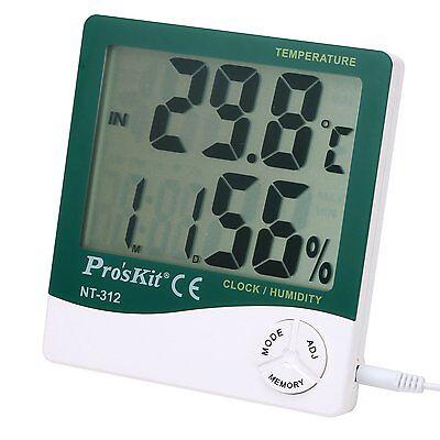 Medidor de temperatura y humedad ambiental para interior + sonda exteriores