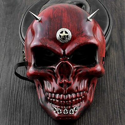 Red Skull Face Steampunk Mask Spikes Halloween Cosplay Costume Masquerade - Red Skull Halloween Mask