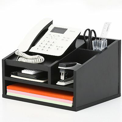 Home Office Desk Desktop Phone Stand Desk Organizer File Supplies Black