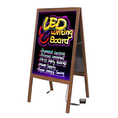 Wood A Frame Illuminated Erasable Neon Led Message Writing Board Menu Sign New