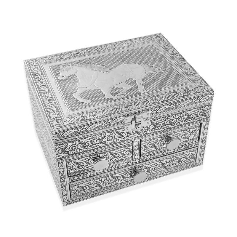 Aluminium Oxidized Horse Embossed 3 Tier Slide Jewelry Organizer Box Storage