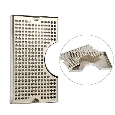 12 X 7 Stainless Steel 3 Cutout Beer Tower Surface Mount Drip Tray No Drain