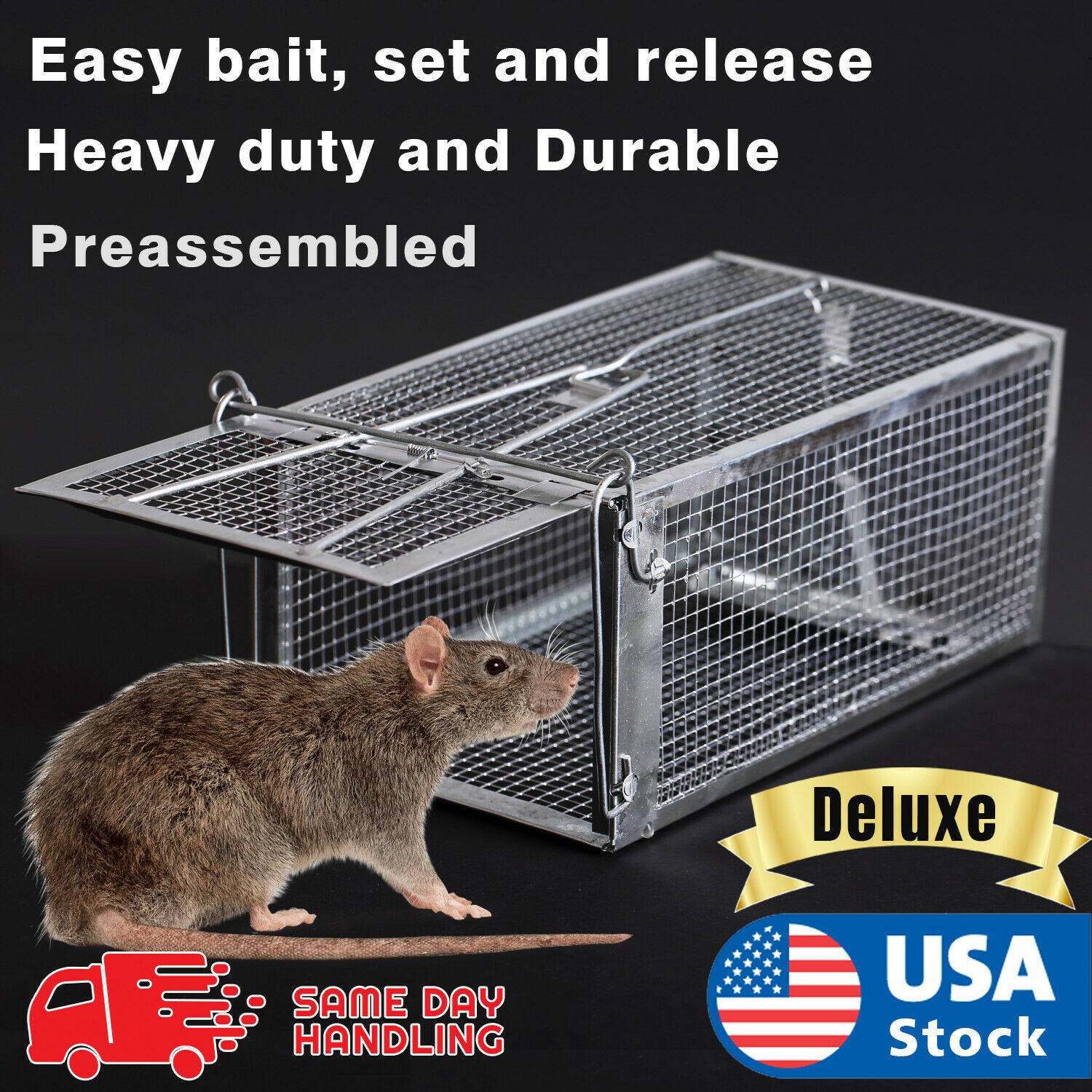 Live Humane Cage Mouse Trap Rat Hamster Catch Control Bait Hunting Survival New Animal & Rodent Control