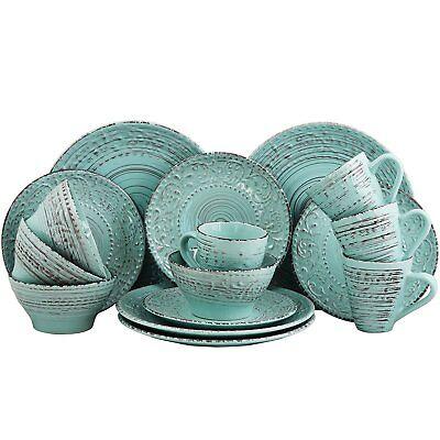 ELAMA MALIBU WAVES 16-PIECE EMBOSSED STONEWARE DINNERWARE SET in TURQUOISE for - 16 Piece Stoneware Dinnerware Set