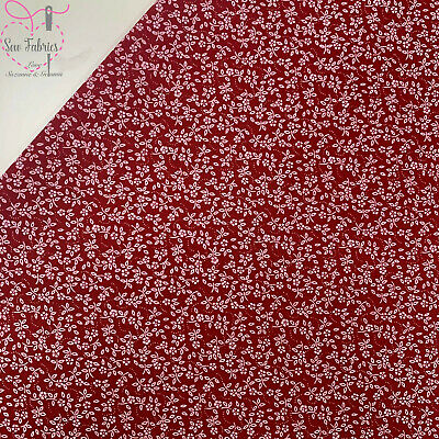 Cherry Red Ditsy Floral Polycotton Fabric, Material Suitable for Craft & Sewing