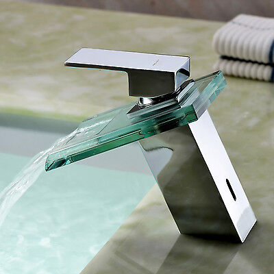 New Glass Bathroom Faucet Waterfall Mixer One Hole/Handle Basin Sink Tap Chrome