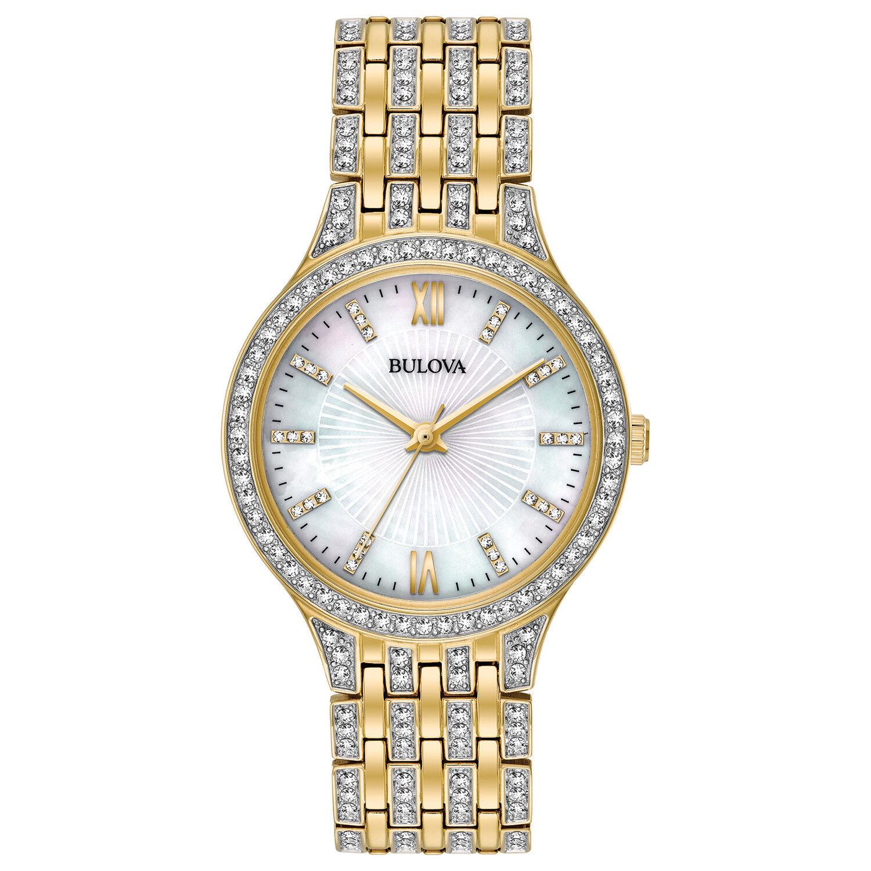 Bulova Women's 98L234 Quartz Crystal Accents Gold-Tone Bracelet 32mm Watch