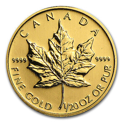1/20 oz Gold Canadian Maple Leaf Coin - Random Year - SKU #14450
