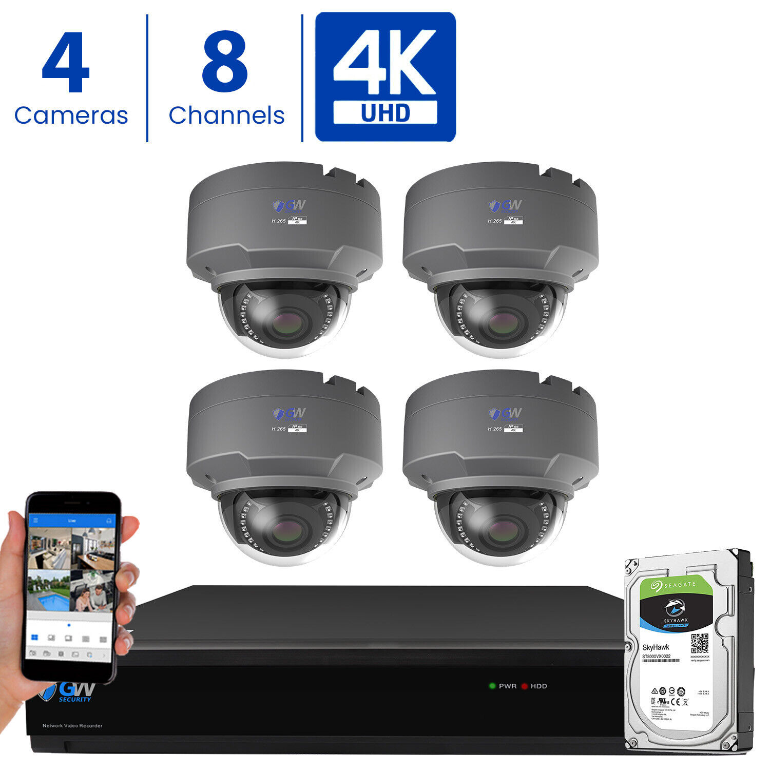 GW 8 Channel 4K DVR  8MP CCTV Varifocal Zoom 4K Dome Securit