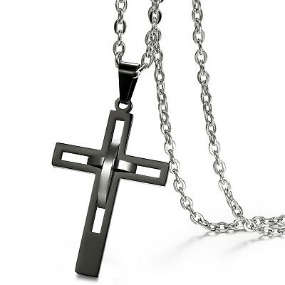 Hollow Design Black Cross Pendant Men's Retro Polished Stainless Steel (Design Polished Cross Pendant)