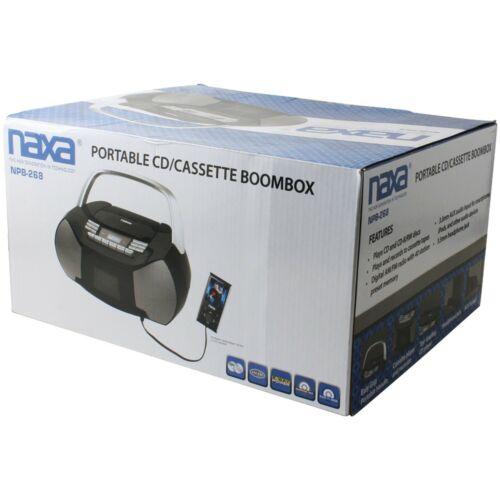 npb 268 portable cd cassette boombox silver