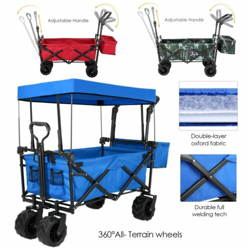 Push & Pull Collapsible Folding Wagon Cart w/Canopy Garden B