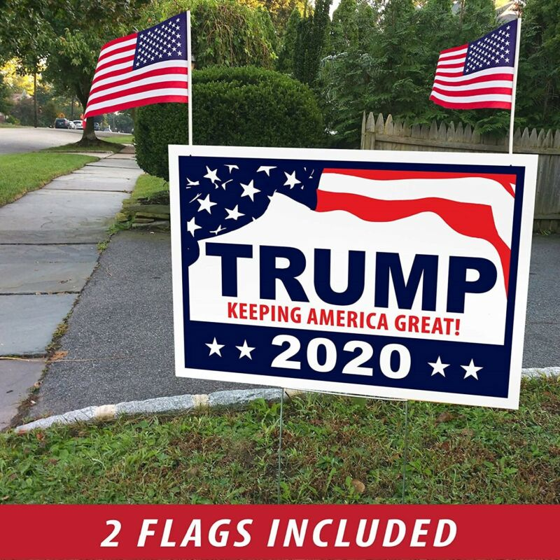 """Donald Trump for President 2020 Yard Signs w/ H-Frames 18""""x12"""" (Single, Flags)"""