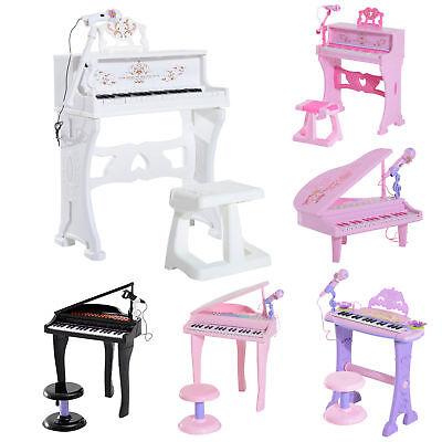 37/32 Key Kids Electronic Keyboard Mini Grand Piano Stool Microphone Musical Toy