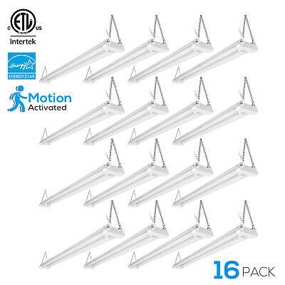 40W 4ftLinkable LED Garage Shop Light Motion Activated, 4000K Cool White, 16PCS (Motion Pendant Light)