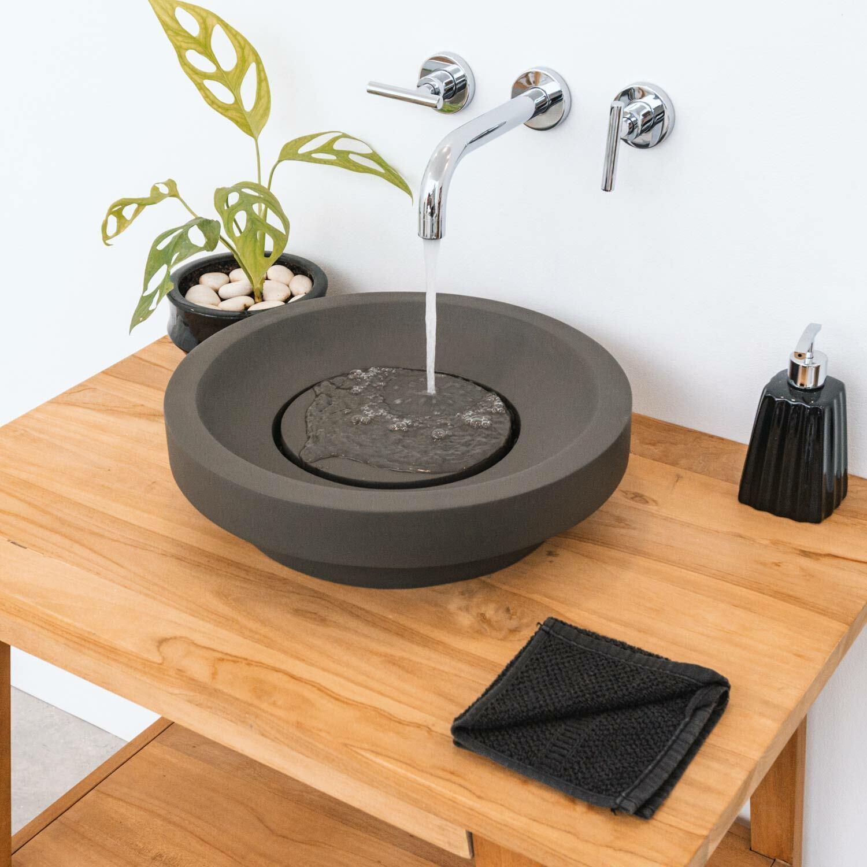 wohnfreuden Terrazzo Aufsatz-Waschbecken 40cm dunkelgrau Naturstein Waschschale