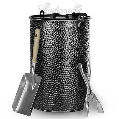 Secchio metallo 25L ZINCATO BATTUTO Secchio CENERE pinze mattonelle-carbone Pala
