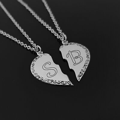 Personalized BFF Necklace Custom Best Friend Gift Jewelry Two Hearts