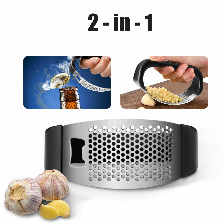 Manual Garlic Press Crusher Squeezer Masher Mincer Stainless