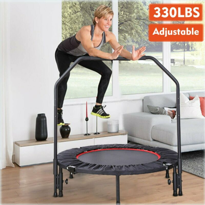 """40"""" Fitness Trampoline Mini Rebounder Workout Exercise With Adjustable Handrail"""