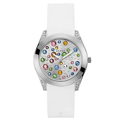 Guess Women's White Rubber & Multicolor Stainless Steel  Quartz Watch W1059L1
